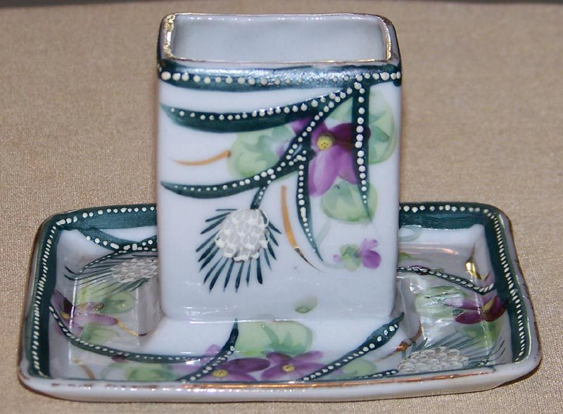 Beaded Enameled Match Box Stand Porcelain