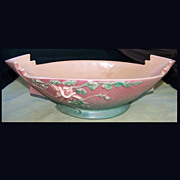 Pink Roseville Columbine 405 Console Bowl 12 inch circa 1940