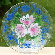 """10"""" Sydenstricker Art Glass Floral Plate  - Pink Roses w/ Blue Accents"""