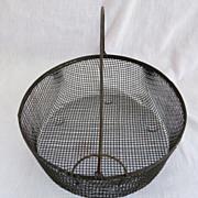 Primitive Country Locking Bail Handle Wire Basket Farm