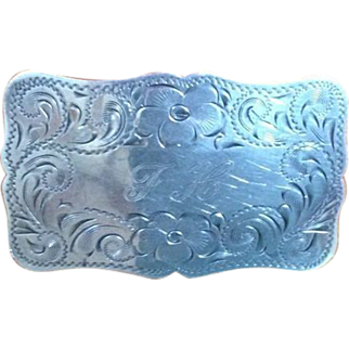 Vintage Sterling Silver Hand Engraved Diablo Flowers Belt Buckle