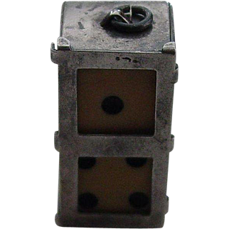 C1920 signed Sterling Silver Dice Box Charm with Dice