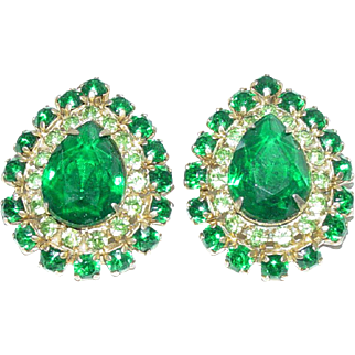 Juliana D&E Pear Shaped Large Green Rhinestone Earrings
