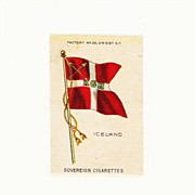 c1900 Iceland Scandinavia National Flag - Vintage Early 1900s Sovereign Cigarette Silk - American Tobacco Company Advertising Premium