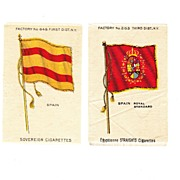 1785 - 1931 Spain National Flag & Royal Standard - Vintage Early 1900's Sovereign and Egyptienne Cigarette Silks - American Tobacco Company Advertising Premiums