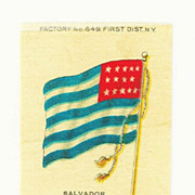 1875- 1912 El Salvador National Flag - Vintage Early 1900's Sovereign Cigarette Silk - American Tobacco Company Advertising Premium