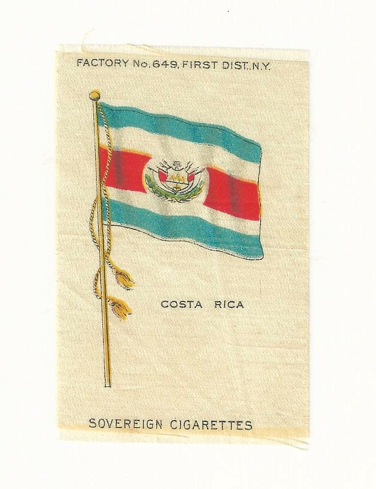 1906 Costa Rica National Flag - Vintage Early 1900's Sovereign Cigarette Silk - American Tobacco Company Advertising Premium