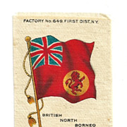 British Colonial Empire Flag - 1903 British North Borneo Union Jack - Vintage Early 1900's Sovereign Cigarette Silk - American Tobacco Company Advertising Premium