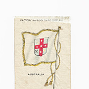 Colonial British Empire - c1820's  Australia Colony Flag - Vintage Early 1900's Egyptienne Cigarette Silk - American Tobacco Company Advertising Premium