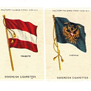 Circa 1900 Austria-Hungary - Vienna & Trieste City Flags - Vintage Early 1900's Sovereign Cigarette Silk - American Tobacco Company Advertising Premium