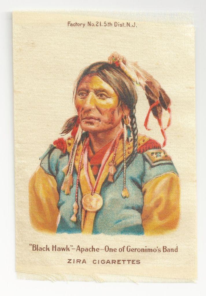 Native American Apache Chief Black Hawk Tobacco Premium – Geronimo's Tribe - Early 1900s Vintage Cigarette Silks - Zira Cigarettes Tobacco Advertising -  American Tobacco Company