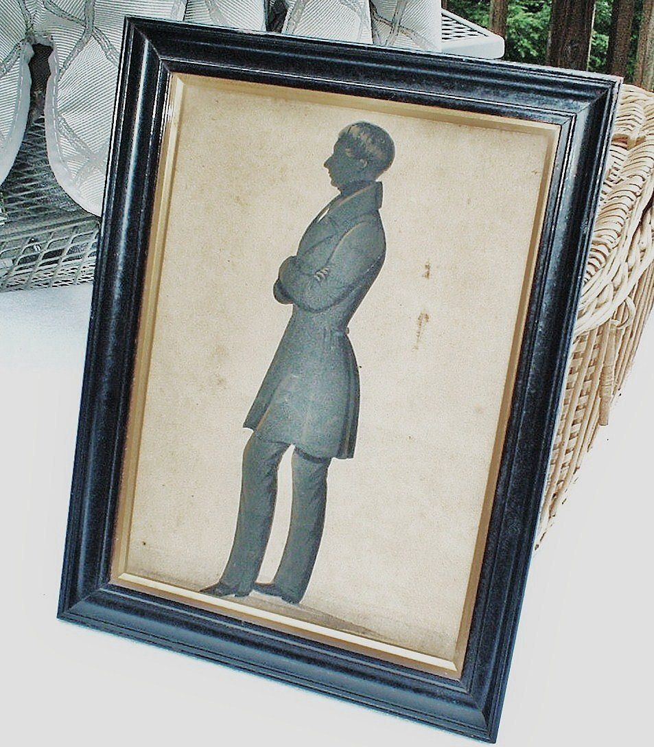 Victorian English Gentleman  Hand-Painted Silhouette  -  Edward Lewin Griffith, 1815-1895