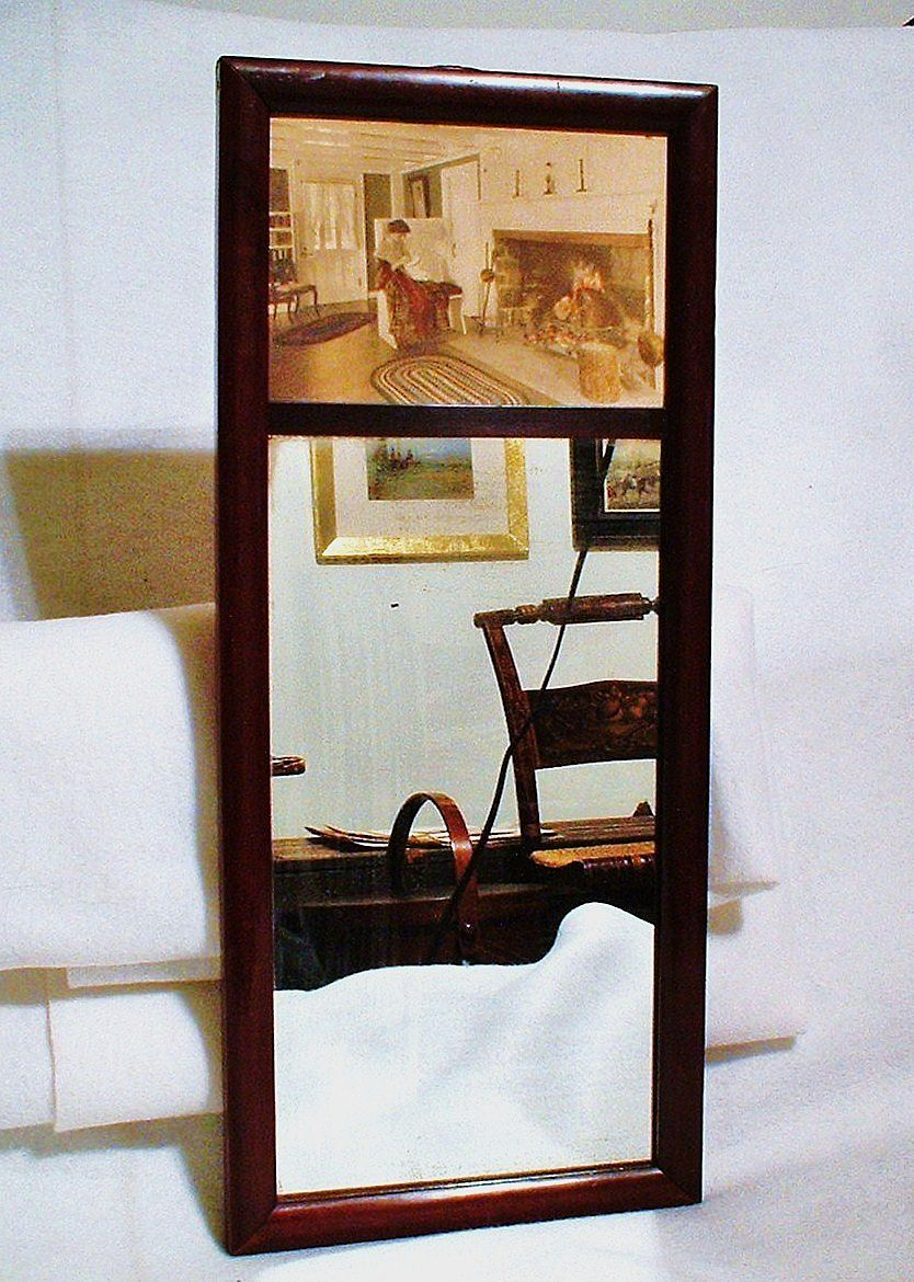 1917 Thompson Art Company Oak-Framed Mirror - Fred Thompson Photograph - Hand-Colored Colonial Woman Sewing by Hearth - Keene NH Country Club Golf Prize