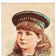 1883 Victorian Patent Medicine Rhode Island Advertising Trade Card - Doctor Hunt's Remedy Kidney And Liver Medicine - Providence, RI - Girl in Sailor Cap and Middy Blouse