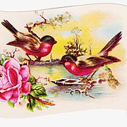 1890s Saint Louis Victorian Arithmetic School Achievement Scroll Lithograph Card Album Scrap - Birds & Rose Scroll - Spring Landscape - Glitter Coated Branches - Embossed
