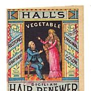 c1870s Women's Hair Dye Patent Medicine Vintage Victorian Advertising Trade Card - Hall's Vegetable Sicilian Hair Renewer