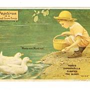 1918 Patent Medicine Advertising Trade Card - Hood's Sarsaparilla and Peptiron Laxative -  Little Boy in Pastel