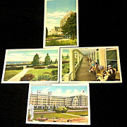 1937-1945 Swampscott MA New Ocean House Hotel Linen Postcards - Four Unused