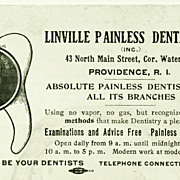 """c1920 Dentist Advertising Trade Card – """"Absolute Painless Dentistry"""" – Linville Painless Dental Co. – Providence, Rhode Island"""
