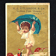1880s French Language Fantasy Victorian Advertising Trade Card for Ladies Fine Shoe Manufacturer H. J. Holbrook & Co., Utica, NY - Little French Boy Capturing Brownie - San Jose, California, Shoe Merchant
