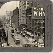 c1920 Seattle WA Downtown Second Avenue Real Photo Stereo View - Vintage Model T Automobiles Cars and Street Trolleys - View From Yester Way - Keystone Real Photo SV