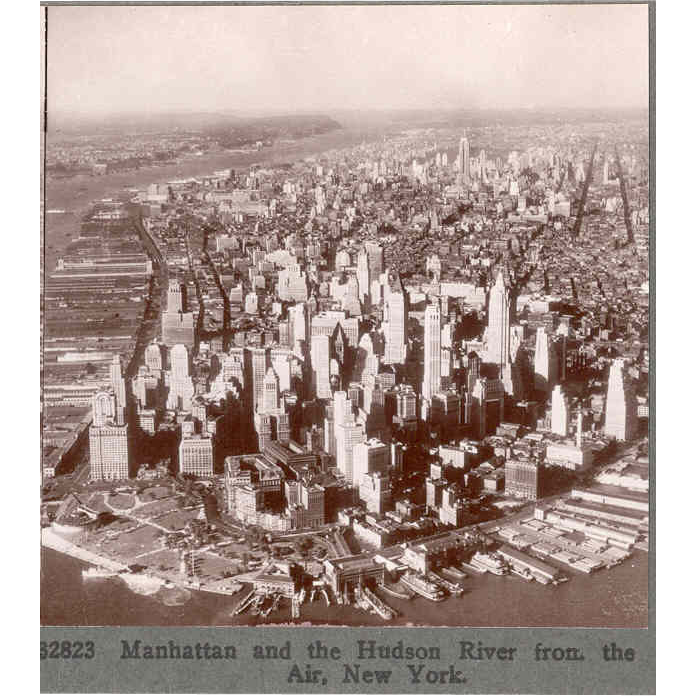 1930s New York City Lower Manhattan Aerial Stereo View - Financial District Foreground - Midtown Background- Empire State Building - Keystone Real Photo
