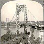 c1938 George Washington Bridge New York City Real Photo Stereo View - Manhattan Landmark - Keystone View