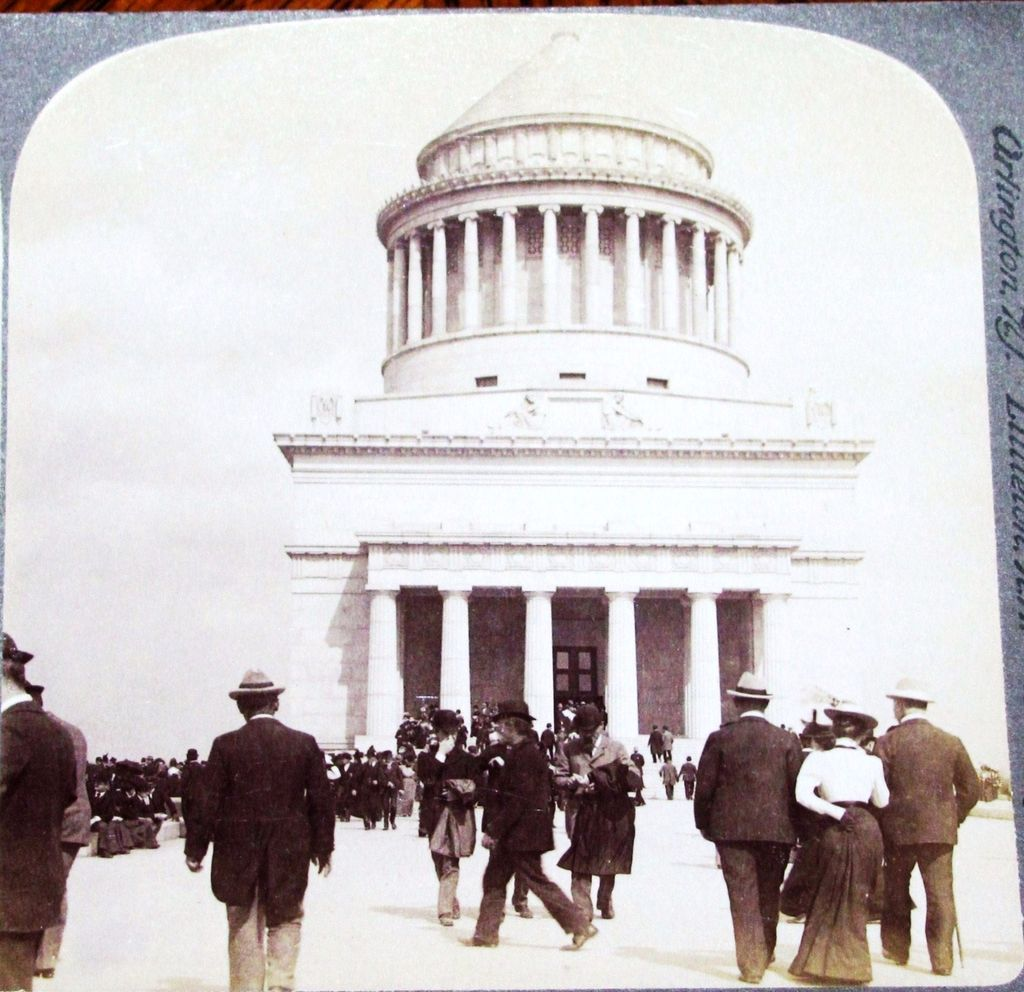 1899 New York City Riverside Park Vintage Real Photo Stereo View  - Ulysses S. Grant Tomb - United States President & Civil War General & Union Commander