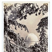 1930s Mount Wilson, California Real Photo Postcard – Winter Snow Scene of Mount Wilson Observatory – Hooker Telescope – Used by Astronomers George Hale and Edwin Hubble - San Gabriel Mountains