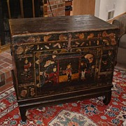 Late 19th Century Chinese Lacquered Elmwood Chest on Stand - Shanxi Province - China Trade