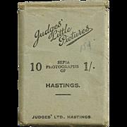 """1940s Hastings, England Souvenir Real Photos - """"Judges' Little Pictures"""" World War Era Great Britain Tourist Photo Views - Ten Vintage Miniature Sepia-Toned Photographs"""
