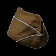 World War Two II-2 U. S. Army Infantry Uniform Cap - 1943-1945 Overseas Garrison Side Cap – Brown with Light Blue Piping