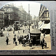 c1920 Belfast Northern Ireland Stereo-view – Royal Avenue – Donegal Place – Double-decker Trams - Keystone Glossy Finish Real Photo Stereo View