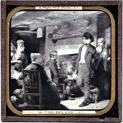"c1900 English Magic Lantern Slide - Robert Burns Poem ""The Cotter's Saturday Night"" -18th Century Scots Poet - Lithograph on Glass -  Scottish Literature"