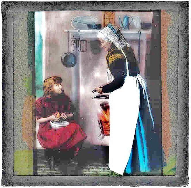 c1915 English Magic Lantern Slide - The Secret Garden Children's Novel Scene - Color Lithograph Photo on Glass - Frances Hodgson Burnett, Author