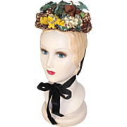Victorian 1880s Sibley, Lindsay & Curr Ruffled Straw Bonnet w/Wildflowers