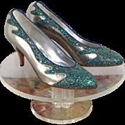 NOS Vintage 1990 Sebastian Silver Leather & Multi-Sparkle Pumps Shoes 9.5