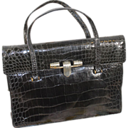 Chic Vintage 1930s French Black Alligator Purse Handbag