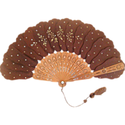 "Victorian Spangled Silk ""Jenny Lind"" Palmette Ladies' Fan"