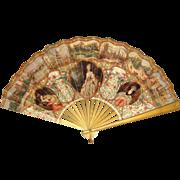 Victorian Lithographed Paper Fan Souvenir of London