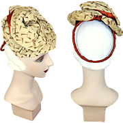 Vintage 30s/40s Two Layer Gold Turban on Draped Tam Tilt Hat