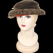 Vintage 1920s Spice Brown Velvet Cloche Hat Gainsborough Millinery
