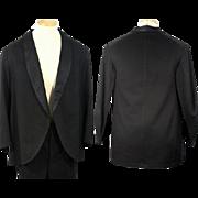 1890s Late Victorian Black Wool Tuxedo Dinner Jacket Eveningwear