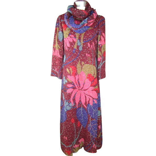 Vintage 70s Geoffrey Beene Maroon Floral Chiffon Gown w/Metallic Embroidery XS