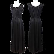 Vintage c.1950 Hattie Carnegie Black Duchesse Satin Gown S/M