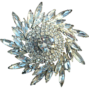 Vintage Weiss Diamante Crystal Snowflake or Pinwheel Brooch