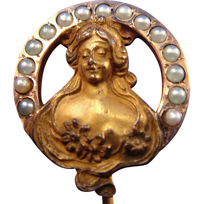 Antique Art Nouveau Woman Goldplate Stick Pin w/Seed Pearls