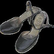 Vintage 1970s Christian Dior Black Satin Platform Evening Shoes 7