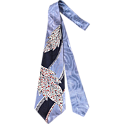Vintage 50s Smoothie Ice Blue Satin Leaf Print Wide Tie