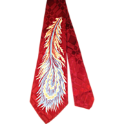 Vintage 1950s Red Satin Jacquard Feather Print Wide Tie